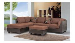 Fabric Sectional Set with 2 Pillows and Ottoman with Wooden base GL6108