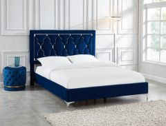 BLUE TUFTED QUEEN BED