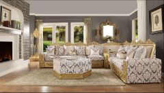 Exquistite Designed Fabric Sectional Set with Ottoman - Melanie GL6341
