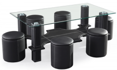 Black Glass Coffee table with 4 PU Ottomans with Stitching detail GL7877