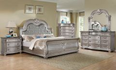 Martinee Silver Tufted Traditional Bedroom Set on Sale - GL2323