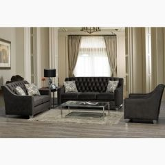 Made in Canada Sofa Set with Tufting and Nailheads (Brighton)