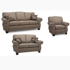 Canadian Made Fabric Sofa Set with Rolled Arms