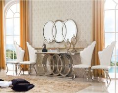 Exquisite Console And Mirror with Chrome Base - Sudbury GL8074