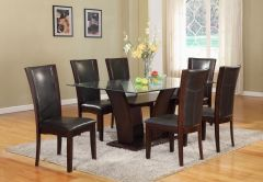 Rectangular glass top Dining set Kate GL47 with Chocolate Chairs