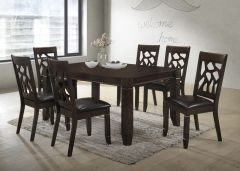 Brooklyn Elegant Espresso Wooden Dining Set with 6 Chairs