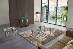 Leon GL7134 Modern 3 Pc Coffee Table Set in Clear Glass Top and Chrome Base
