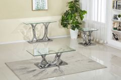Stylish 3 Pc Coffee Table Set with Chrome Base and Clear Glass top Naomi GL7485