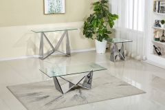Tempered Glass Top and Chrome Base 3 Pc Coffee Table Set - Livya GL7577
