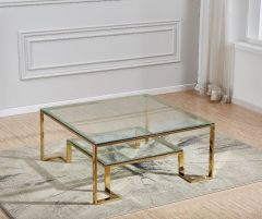 Designer Gold and Silver Square Coffee Table (AS95G)