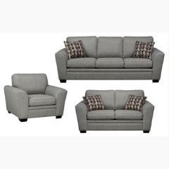 Canadian Made Grey Couch Set with Solid Wood Legs (Sorrento)