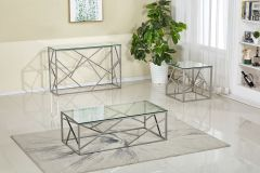 Ellery Rectangle Glass Top and Chrome Base 3 Pc Coffee Table Set - GL7476