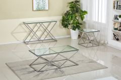 Promotions on Sophie GL7701- 3 Pc Coffee Table Set with Clear Glass, Chrome Base