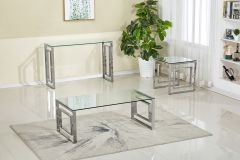 Linda Clear Glass Table with chrome Base 3 Pc Coffee Table Set Sale - GL7661