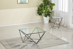 Modish 3 Pc Coffee Table Set in Tempered Glass and Chrome Base - Bella GL7272