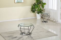 Chrome Base and Glass Top 3 Pc Coffee Table Set - Vency GL7871
