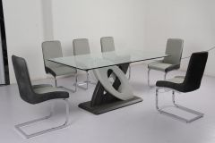 Distinguished 7 Pc Dinig with Clear Rectangular Table and Grey Chairs GL4716