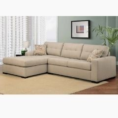 Beige Canadian Made Solid Wood Sectional in Fabric