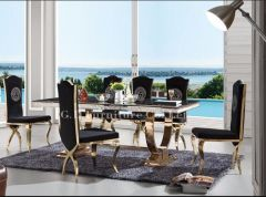 7 PC Black and Gold High End Collection Dining  Set- Astana  | GL4083