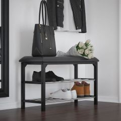 Black Leather Foster 2-Tier Bench