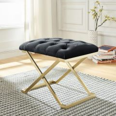 Contemporary Velvet Bench with Firm Polyester Foam Cushion
