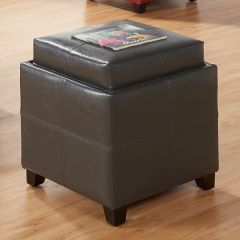 Anton II Square Storage Ottoman with Solid Wood Tray
