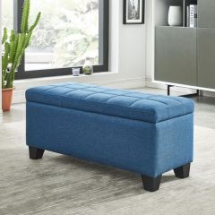 Lila Rectangular Storage Ottoman with Square Tufted Top