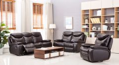 Latest Designed 3Pc, Sofa Set with 5 Recliners in Chocolate - Dallas GL6538
