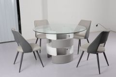 (1+4) Pc. Grey Round glass top Table and Chairs set Tori - GL4231