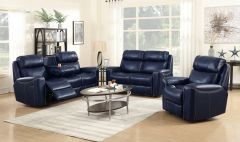 3 Pc Sofa Set with 5 Power Recliner and Adjustable Headrest in Blue - GL6282