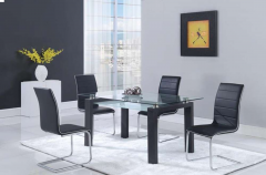 Black 7 Pc 12mm Rectangular Glass Top Dining Set with Chrome Legs - GL4927