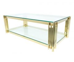 Golden Glass Top Coffee Table with Glass Base - AS20G