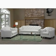White Fabric Couch Set - Made in Canada (Malvern)