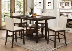 (1+6)pc Pub Set Burma    GL5801 Table Espresso, Chair Beige Material:     Chair - PU