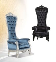 Button Tufted  Bedford  GL8167 Royal style single chair in Blue and Black