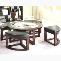 Round Glass Top Coffee Table with 4 Stools in Espresso Color - GL7982