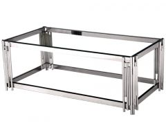 Sleek Designer Silver Coffee Table with Glass Top AS20C