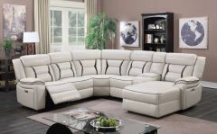 Latest Sectional with Power Recliner in Cream and Black Detail finish GL6233