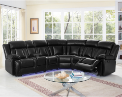 Black Air Leather LED Sectional with 2 Recliner, 2 Armchair - Starlight GL6713