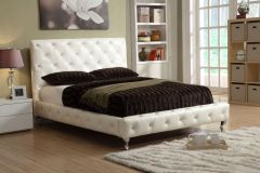 Sale on Brand new White Tufted Bed with Silver legs - Prince GL2782