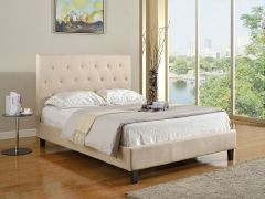 Beige Finish Tufted Bed with Wooden Legs Ontario - Flax GL2813