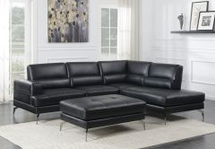 Black Leather Gel Two Piece Sectional / Ottoman Sale - GL6741