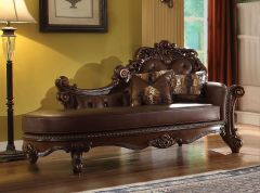 Traditional Cherry Finish Chaise with Tufted back - Perth Dark GL8222