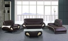 Latest Designer 4 Pc Sofa Set with Coffee Table in Chocolate and Beige - GL6593