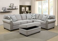 Elegant Sectional with Storage Ottoman & Throw Pillows - Oscar Sectional GL6243