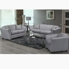 Canadian Made Grey Fabric Couch Set (Grant)