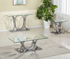Modern Glass Coffee Table in Silver Base AS26