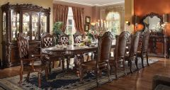 High Quality 9pc Dinning Set with Tufted back in Walnut Finish - Daisy GL3502