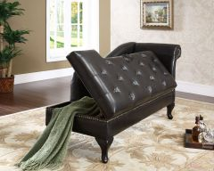 GL8005 - Storage Chaise with tufted seating and nail head decorated frame