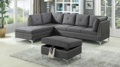 Beautiful Nail Head Decorated Sectional Set with Ottoman - London GL6318